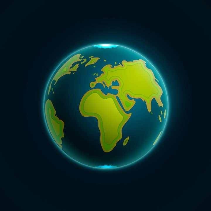 卡通风格的地球自带发光绿色大地蓝色海洋图片免抠矢量素材