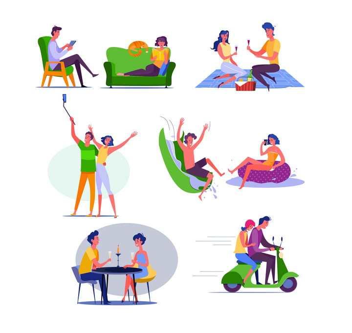 8款扁平插画风格一起自拍玩耍喝酒骑电动车的情侣图片免抠矢量素材