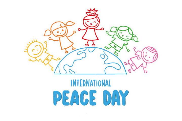 手绘卡通线条地球和上面的线条小朋友世界人民大团结儿童简笔画图片免抠矢量素材