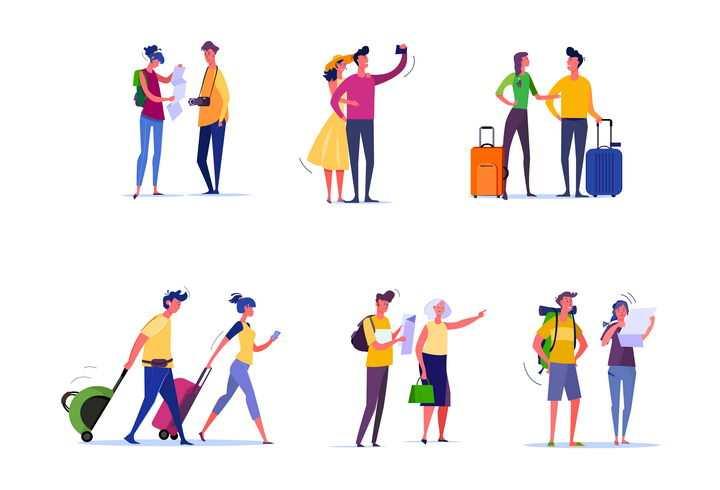6款扁平插画风格一起旅游的情侣图片免抠矢量素材