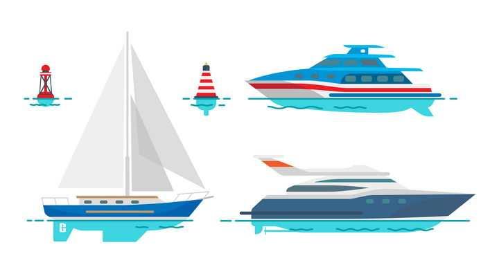 MBE风格浮标和快艇帆船图片免抠矢量素材