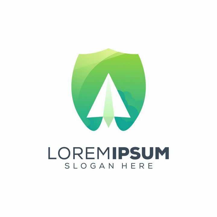 绿色盾牌形状纸飞机符号LOGO设计方案图片免抠矢量素材