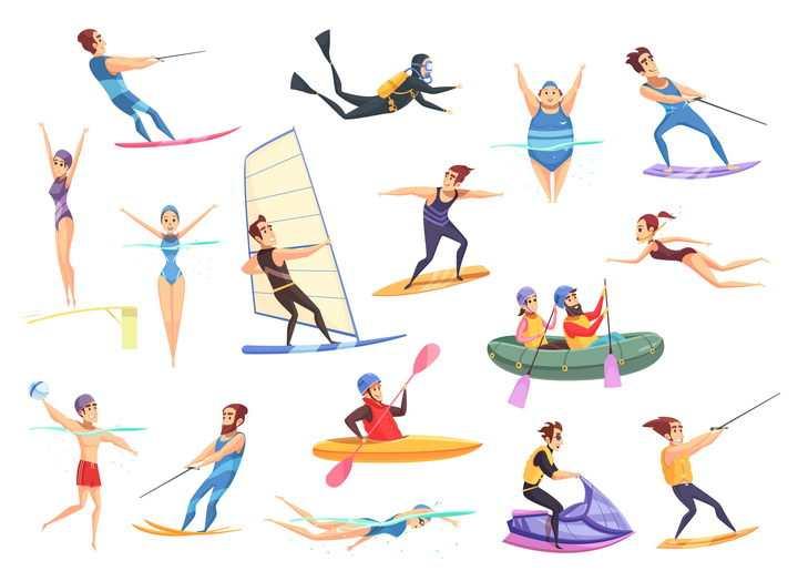 卡通风格冲浪潜水游泳跳水摩托艇皮划艇等各种水上运动项目图片免抠矢量素材