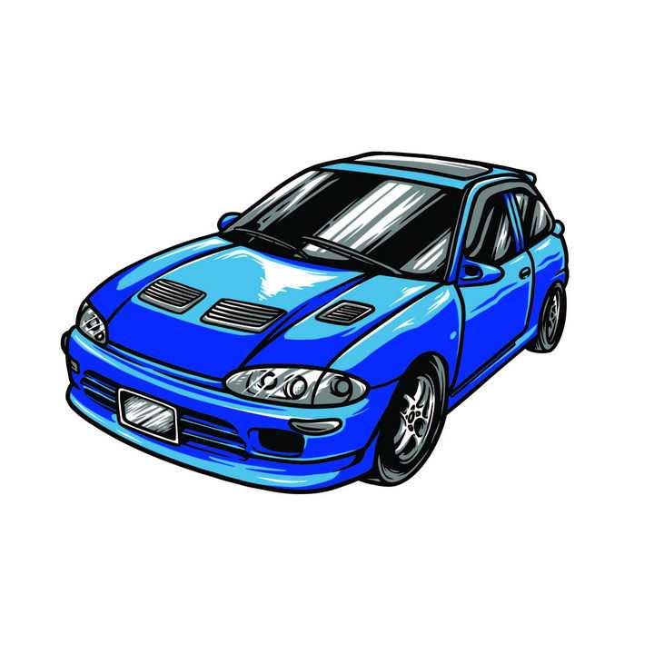 漫画风格飞驰的蓝色汽车赛车图片免抠矢量素材