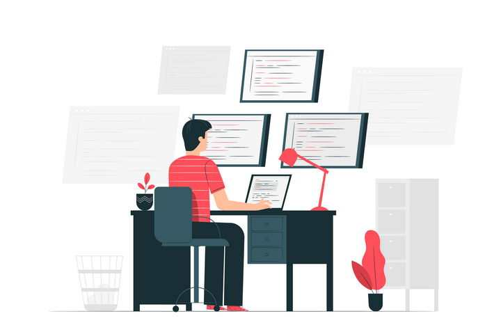 扁平插画风格正在写代码的程序员配图图片免抠素材