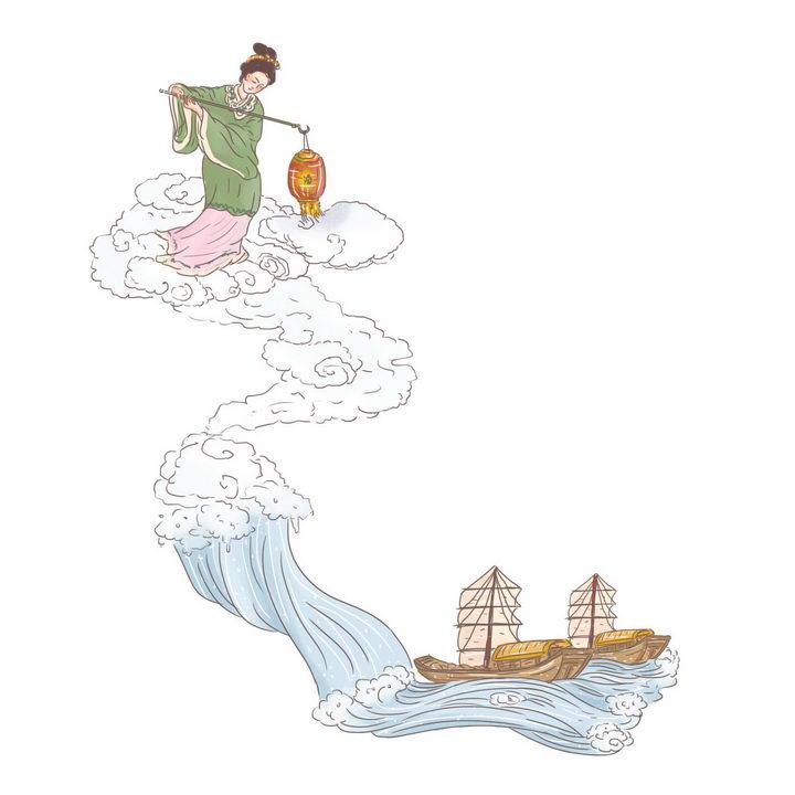 海神妈祖中国传统神话人物传说故事手绘彩色插图图片免抠png素材 教育文化-第1张