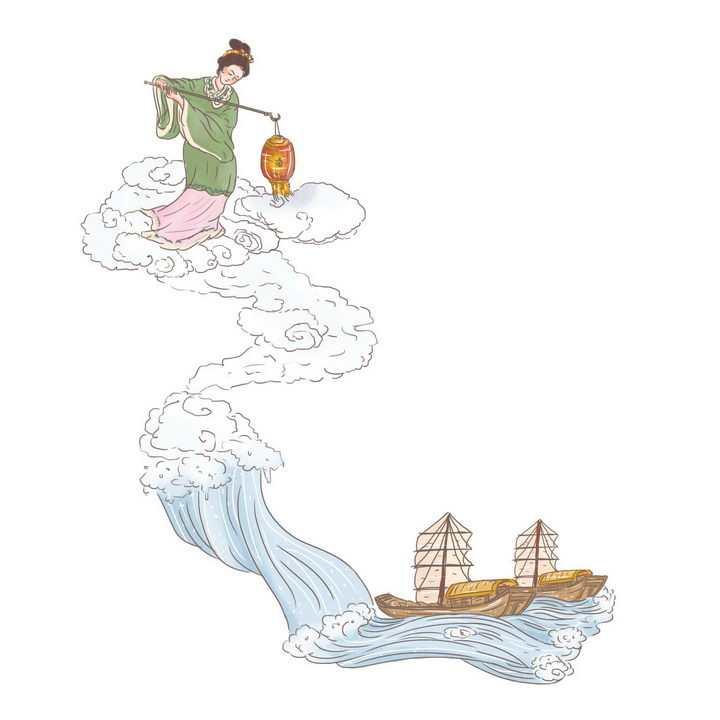 海神妈祖中国传统神话人物传说故事手绘彩色插图图片免抠png素材