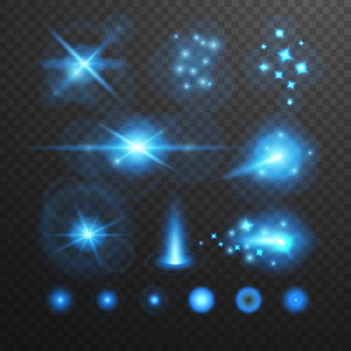 各种模糊的蓝色星光发光光线效果图片免抠矢量图素材