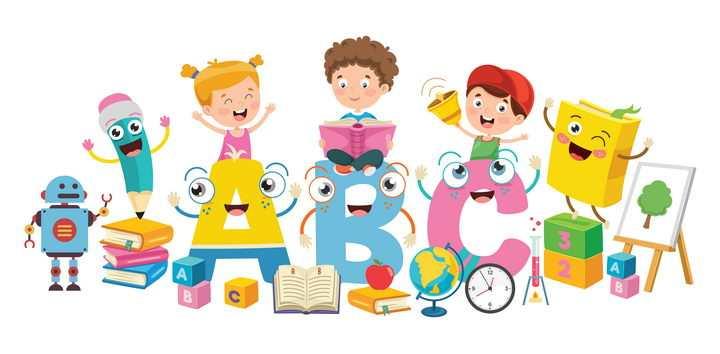 可爱卡通快乐学习的孩子英语学习图片免抠矢量素材