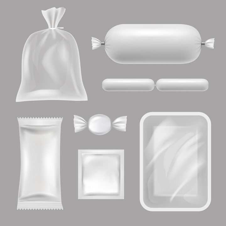 塑料袋火腿肠糖果避孕套空白包装图片免抠矢量素材