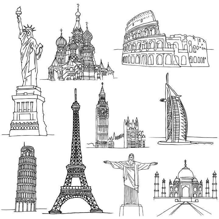 黑色线条手绘自由女神像古罗马斗兽场埃菲尔铁塔等世界知名旅游景点图片免抠矢量素材