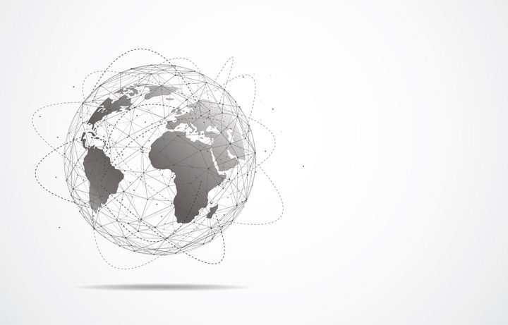 点线面组成的地球世界地图以及包围在地球外面的虚线组成的卫星轨道图片免抠矢量素材