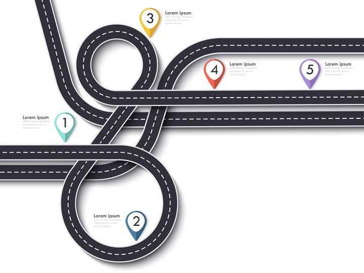 复杂弯曲的多条立体立交桥风格公路道路步骤图时间轴图片免抠矢量图