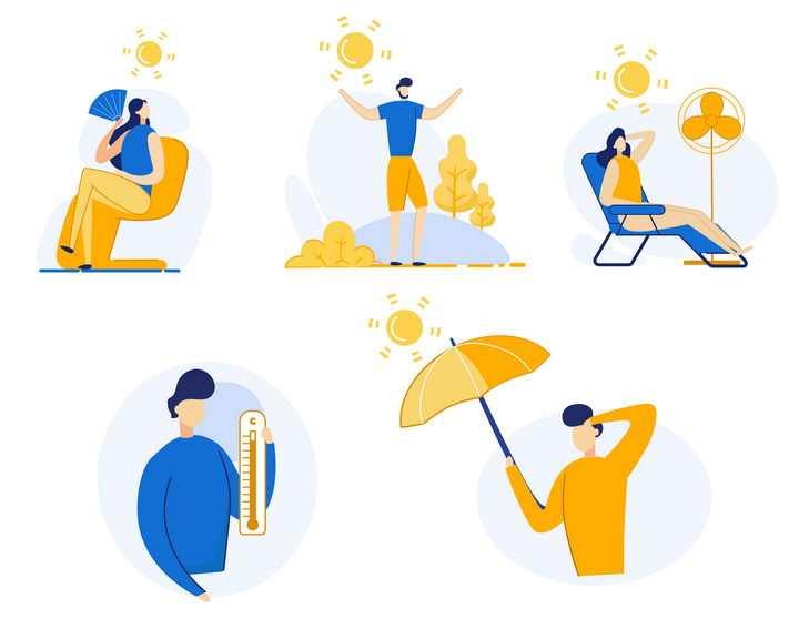 5款扁平插画风格夏天高温防暑防晒宣传画图片免抠矢量素材