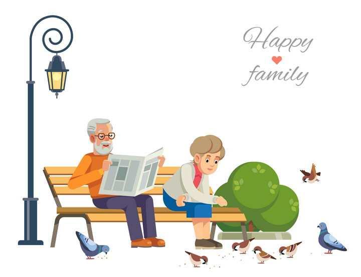 卡通插图风格坐在公园长椅上看报的老爷爷和喂鸽子的老奶奶免抠矢量图素材