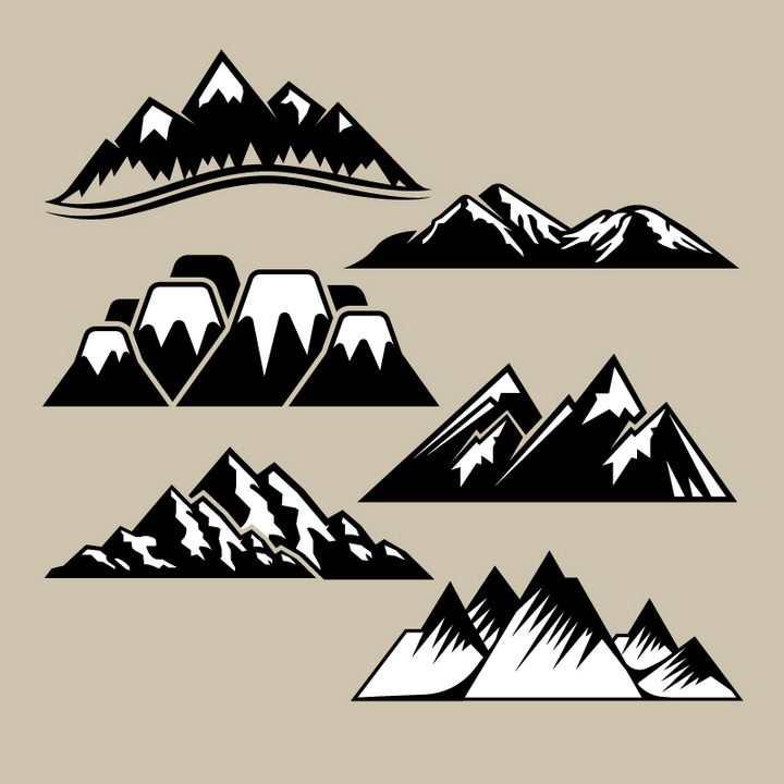6款黑白色风格山脉雪山大山图片免抠矢量素材