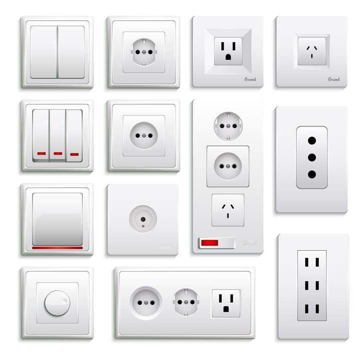 13款各种接口的家用电器插座和电灯开关图片免抠素材
