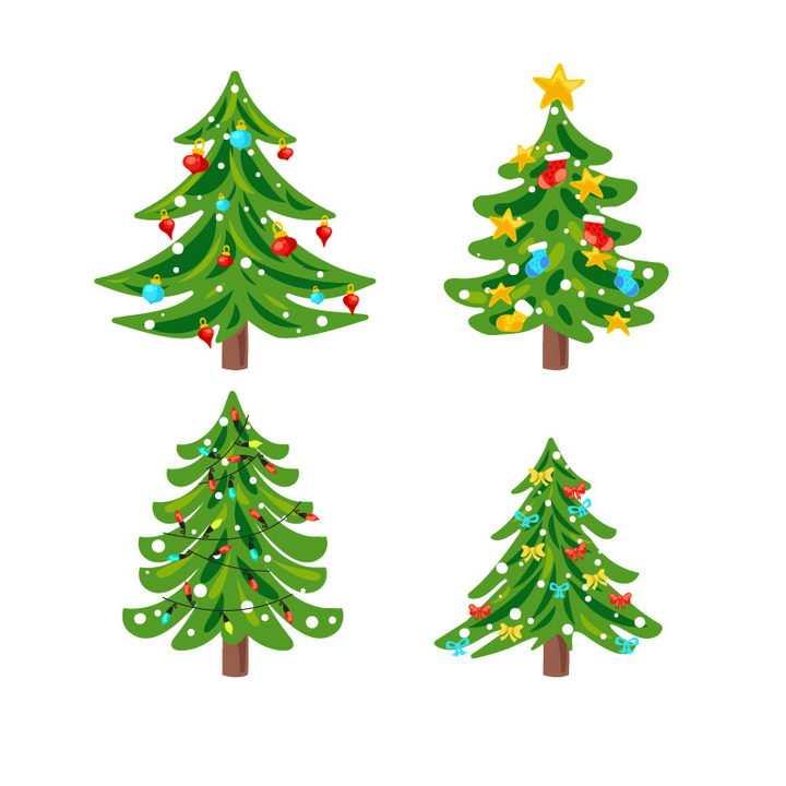 四款卡通风格圣诞节圣诞树图片免抠素材