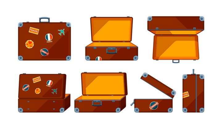 各种不同角度的旅行箱行李箱包图片免抠矢量素材