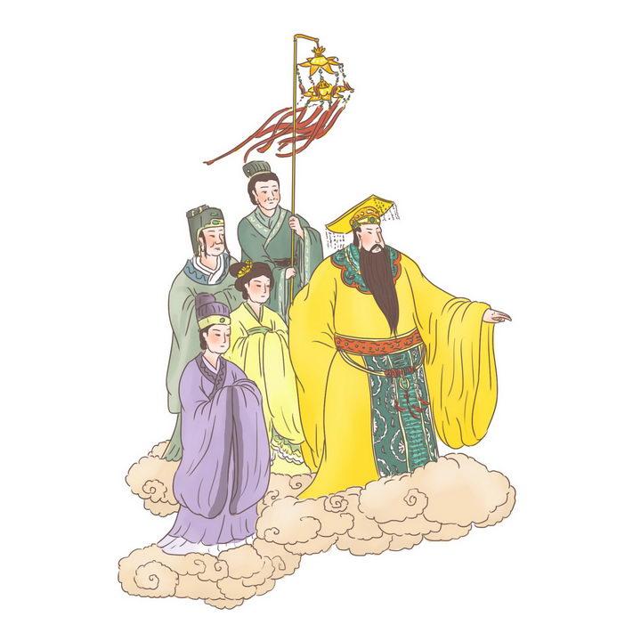 玉帝出巡中国传统神话人物传说故事手绘彩色插图图片免抠png素材 教育文化-第1张
