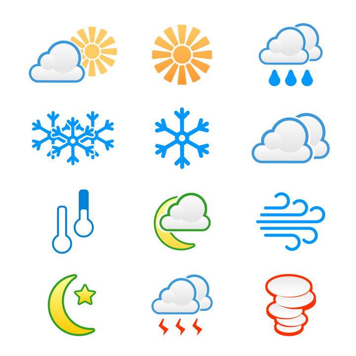 12款简约线条风格多云阴天晴天下雪等天气预报图标图片免抠矢量素材