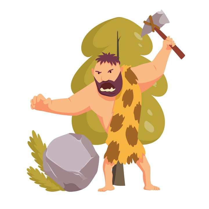 愤怒的卡通原始人举着石斧图片免抠矢量素材