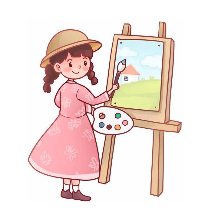 正在画画学习绘画的卡通小女孩图片免抠png素材