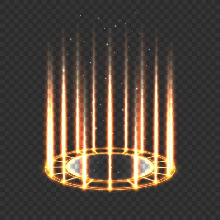 金黄色发光圆环上的光线射线科幻风格传送门效果图片免抠矢量图素材