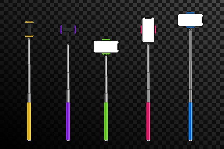 5种手机自拍杆图片免抠矢量素材