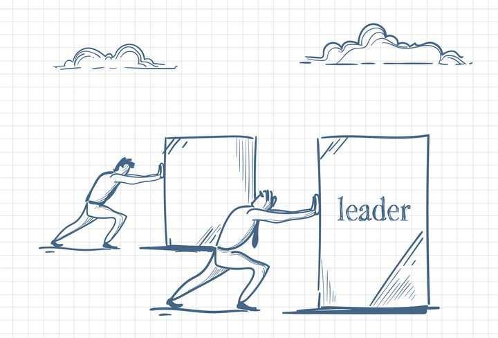 圆珠笔画涂鸦风格两个正在推写着领导的商务人士职场人际交往配图图片免抠矢量素材