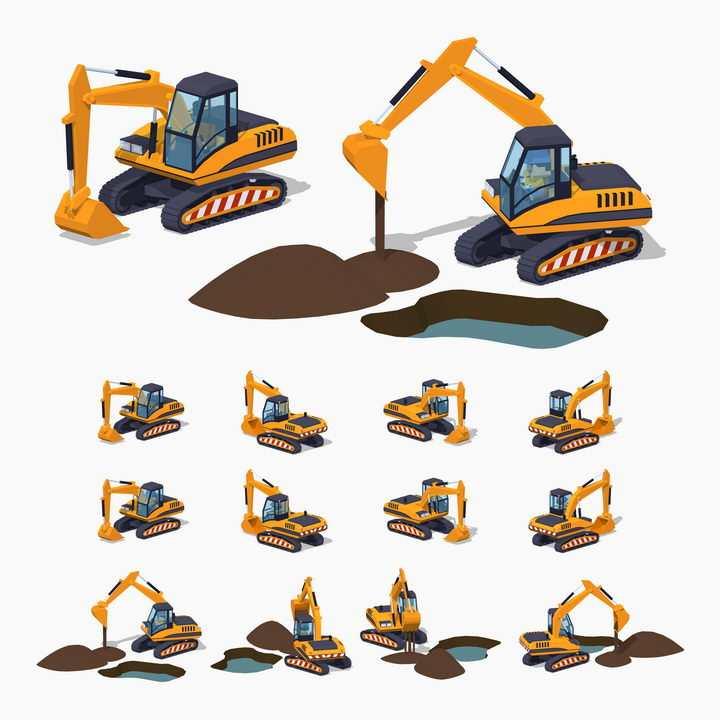 各种挖掘机挖土机工程机械工作示意图图片免抠矢量素材