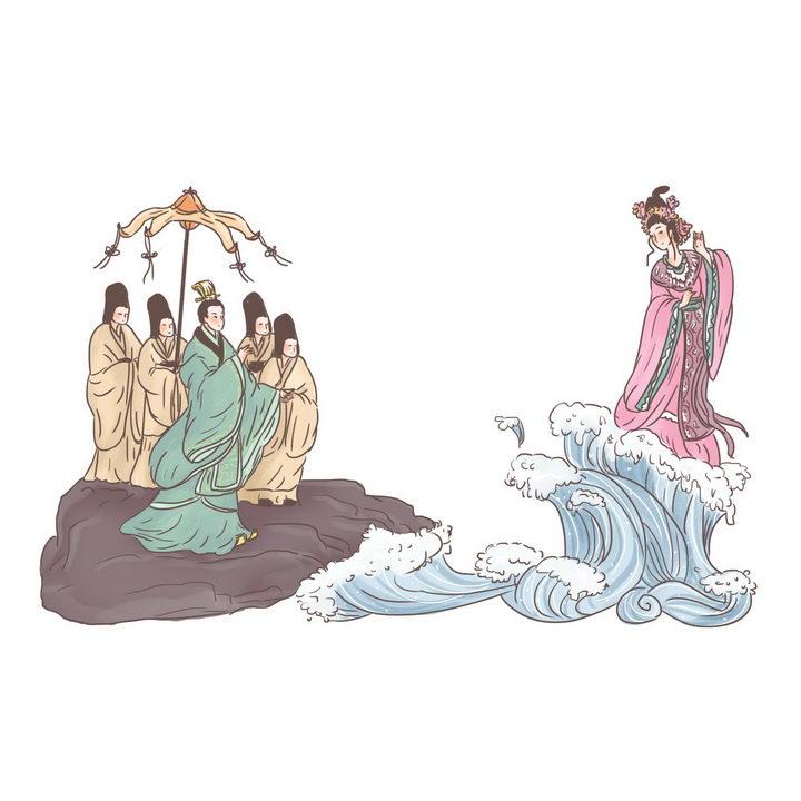 洛神中国传统神话人物传说故事手绘彩色插图图片免抠png素材 教育文化-第1张