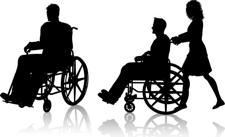 两款坐着轮椅的人物剪影图片免抠矢量素材 健康医疗-第1张