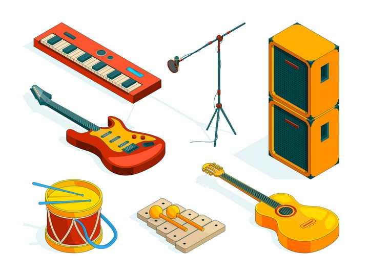 各种2.5D风格的乐队吉他等乐器设备图片免抠矢量素材