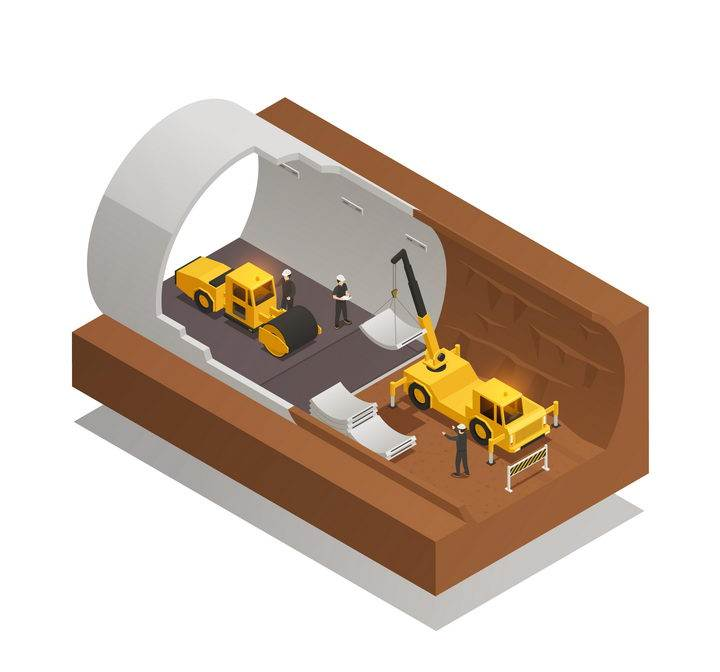 2.5D风格正在建设的海底隧道剖面图图片免抠矢量素材