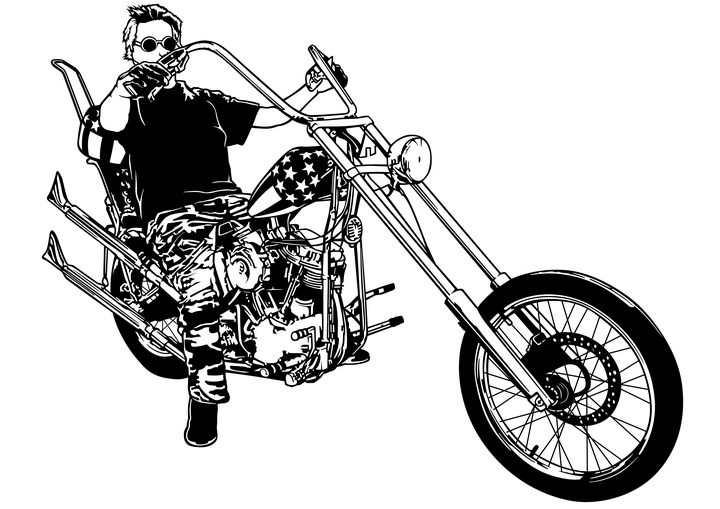 黑白色风格骑着哈雷摩托车的男人图片免抠矢量图素材