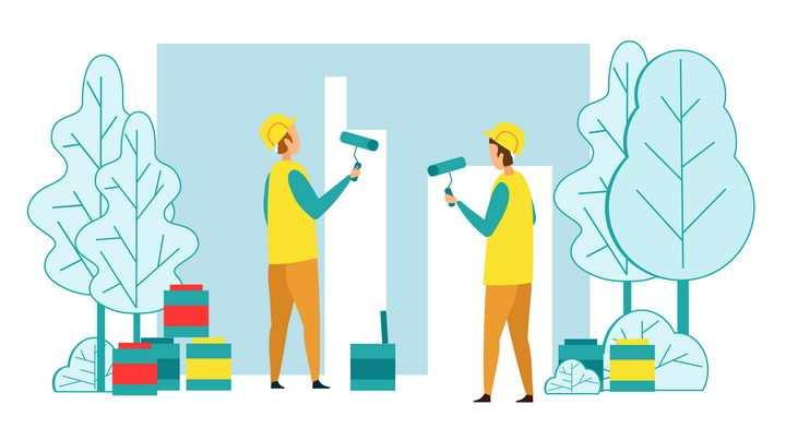 扁平化风格卡通正在装修的工人插画配图图片免抠素材