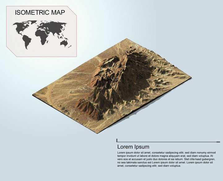 地理地质沙漠上的高山地形地貌PS 3D模型图片模板