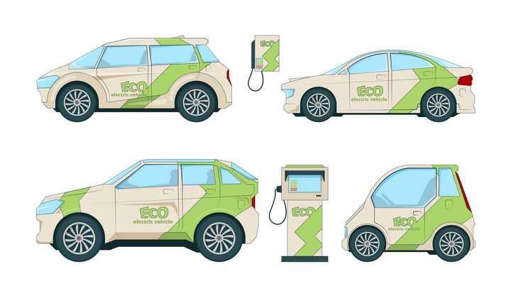 四种不同类型的电动汽车绿色环保汽车图片免抠矢量素材