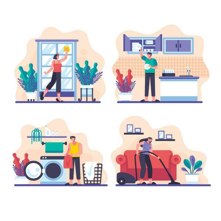 4款扁平插画风格正在大扫除清洁卫生擦窗户洗碗洗衣服拖地图片免抠矢量素材