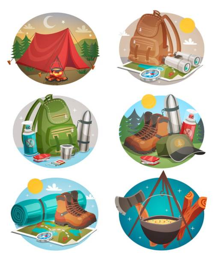 6款帐篷双肩背包等户外旅行露营装备图片免抠矢量素材