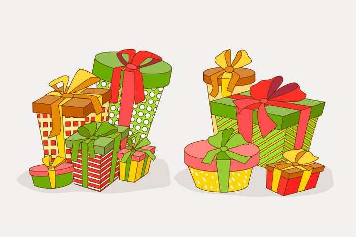 2款卡通手绘礼物盒图片免抠矢量图素材