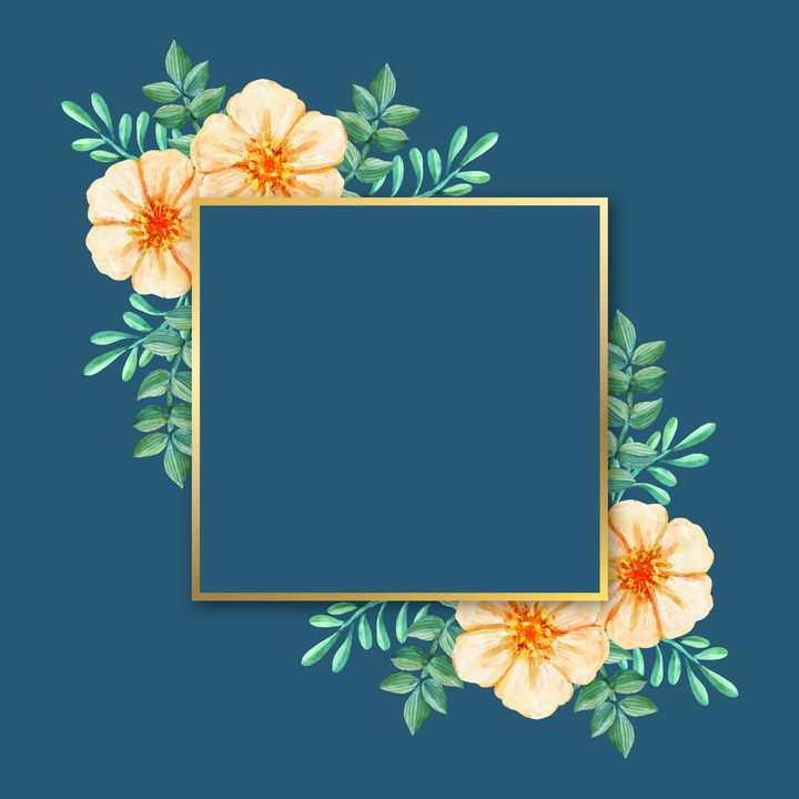 黄色花朵和绿色树叶装饰的金色正方形边框文本框图片免抠矢量素材