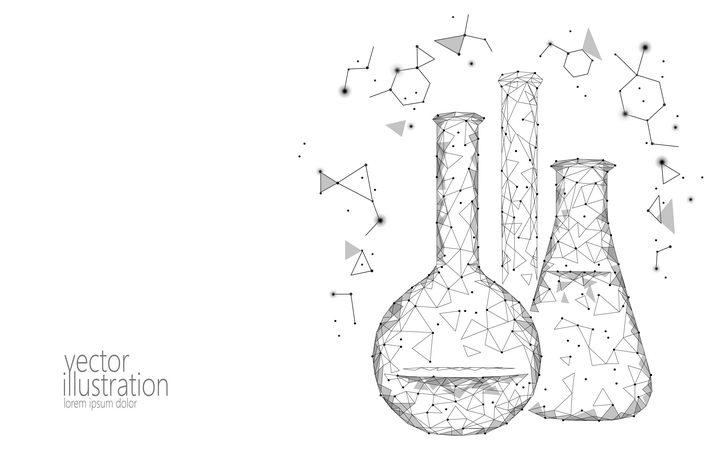 点线多边形组成的烧瓶试管等化学实验用品图片免抠矢量素材