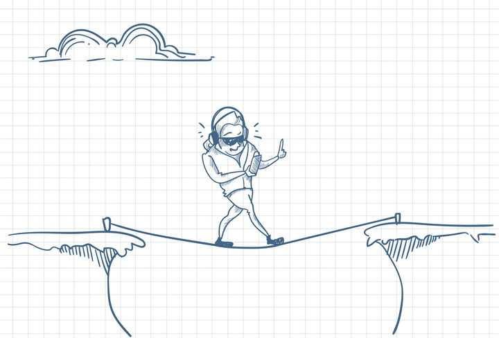 圆珠笔画涂鸦风格只顾玩手机走钢丝绳的低头族职场人际交往配图图片免抠矢量素材