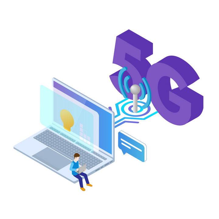 2.5D立体风格笔记本电脑上的5G通信技术应用图片免抠png素材 IT科技-第1张