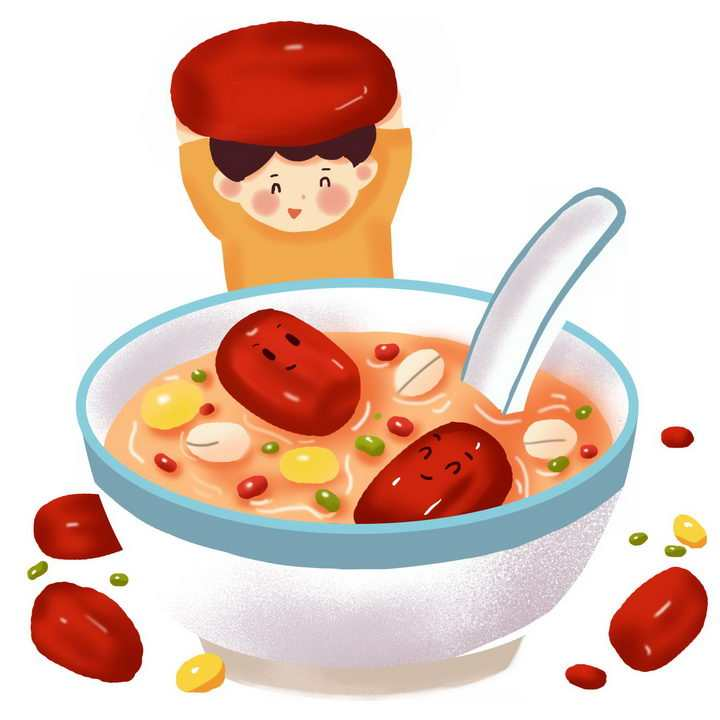 彩绘风格卡通小孩红枣腊八粥八宝粥养生粥腊八节传统美食图片免抠png素材