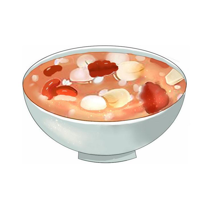 彩绘风格腊八粥八宝粥养生粥腊八节传统美食图片免抠png素材 生活素材-第1张