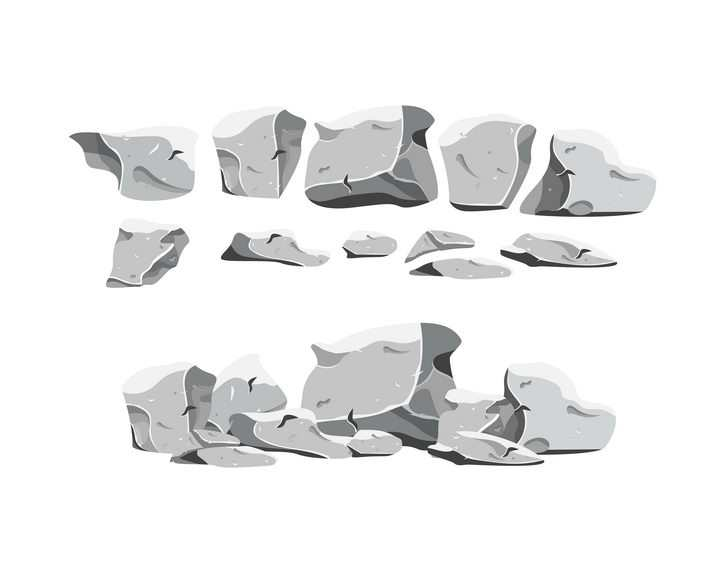 破碎的灰白色石头石块岩石石灰岩图片免抠矢量素材