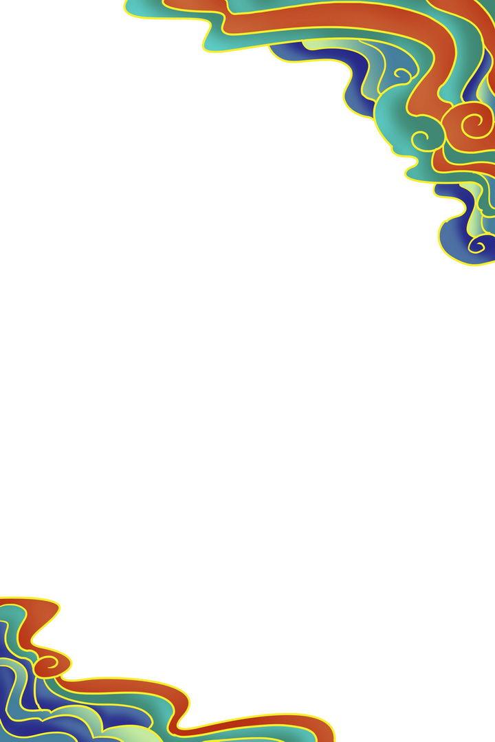 绿色红色蓝色彩色传统的祥云图案图片免抠png素材